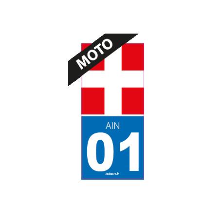 Ain Autocollant Moto immatriculation 01