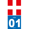 "Autocollant plaque ""Croix Road"" 01 Ain"