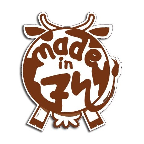 "Autocollant vache ""Made in 74"""