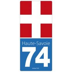 """Autocollant plaque immatriculation """"road"""" 74"""