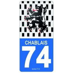 """Autocollant plaque """"Road"""" Province 74 Haute-Savoie"""
