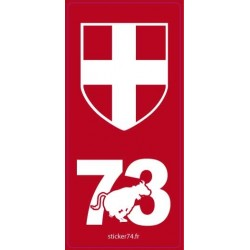 "Autocollant plaque ""Red"" 73 Savoie"