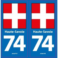 """Autocollant plaque """"Blue Road"""" 74 Haute-Savoie"""