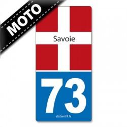 Autocollant plaque immatriculation moto 73