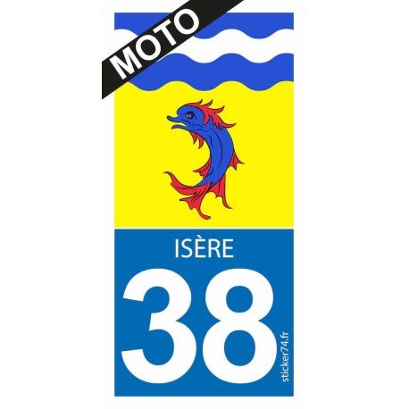 """Autocollant """"Road 38"""" pour plaque moto"""