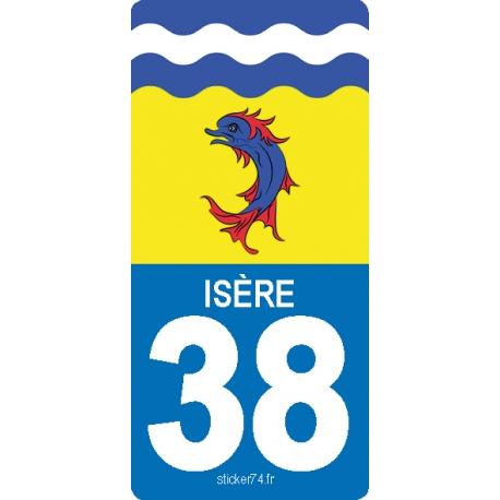 """Autocollant plaque """"Road"""" 38 Isère"""